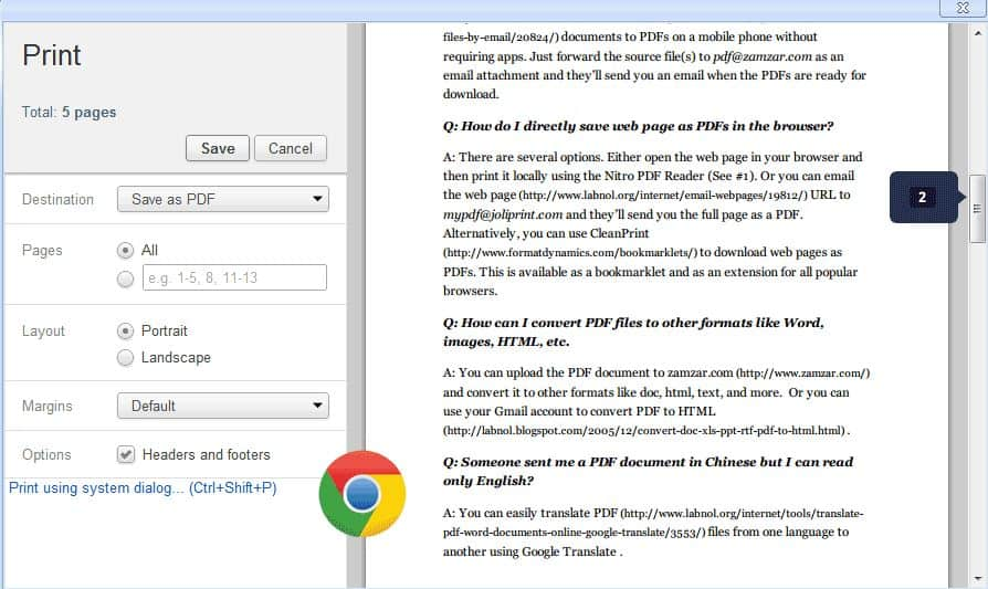 how to save a webpage as a pdf in chrome