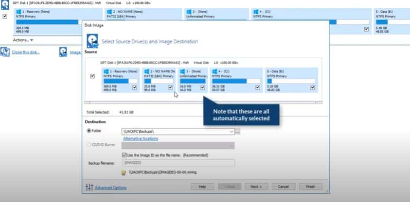How do you create a full disk backup of your PC with macrium reflect?
