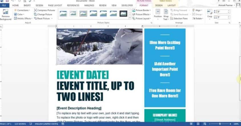 Microsoft Word Flyer maker
